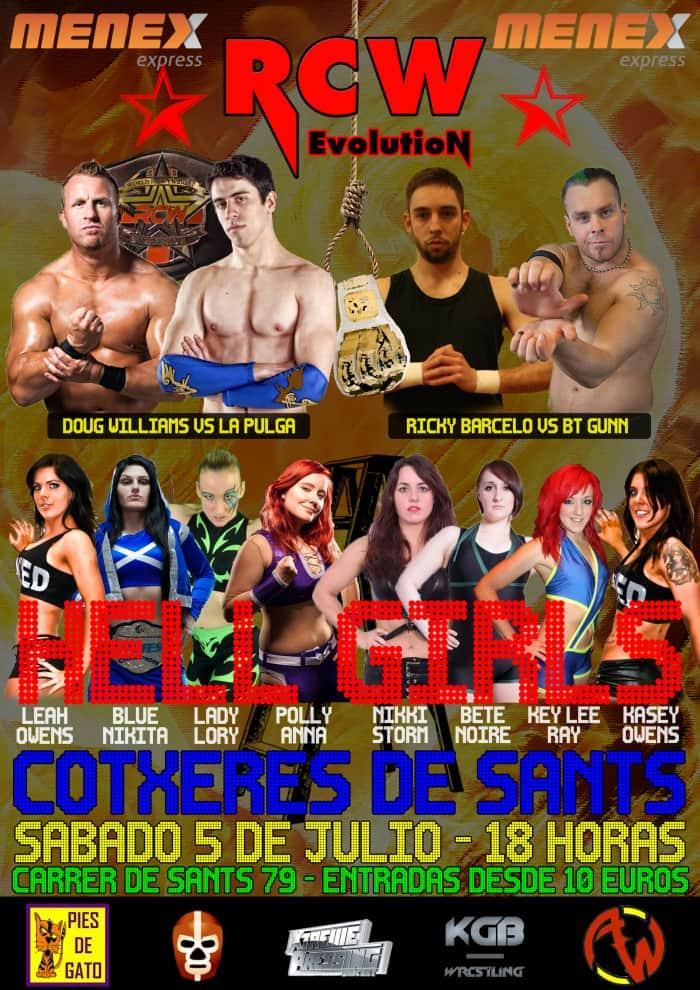 "Lucha libre en España: Cartelera completa de RCW ""Hell Girls"", el 5 de Julio en Barcelona 1"