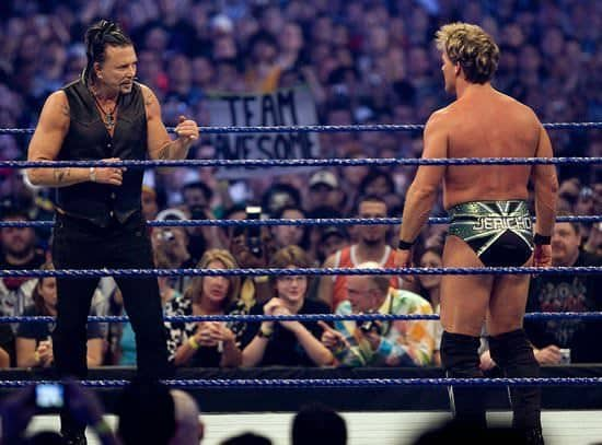 Mikey Rourke y Chris Jericho en WrestleMania XXV