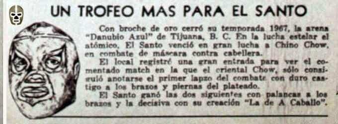 Santo vs. Chino Chow (17 de diciembre de 1967).