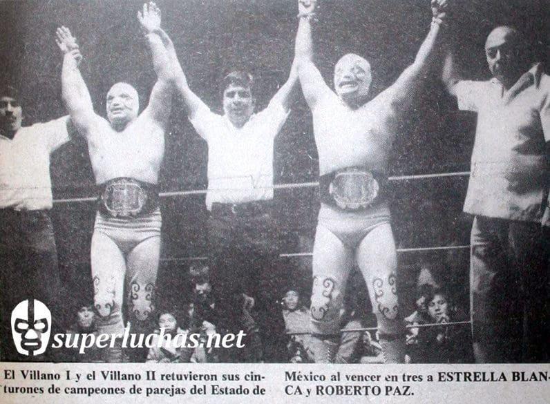 Villano I y Villano II retienen sus cinturones. Réferis: El Fresero y Pompín. Comisionado:  José Monterrubio (20 de diciembre de 1977 ).