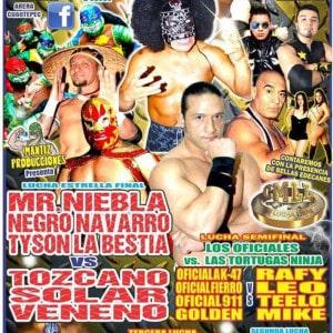 En la Arena Cuautepec, Mr. Niebla, Negro Navarro y el enorme Tyson la Bestia vs. Toscano, Solar y Veneno 8