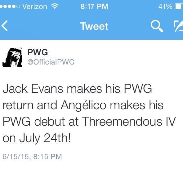 PWG anuncia el regreso de Jack Evans y el debut de Angélico en su promoción.