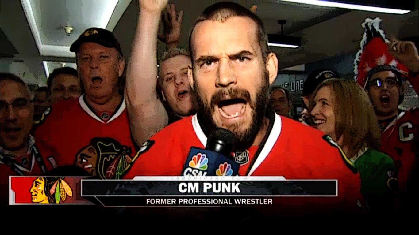 CM Punk apoyando a los Chicago Blackhawks