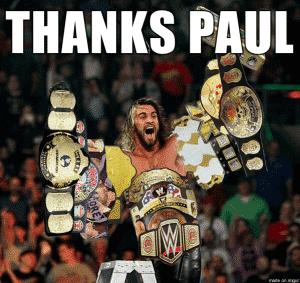 Meme de Seth Rollins con casi todos los títulos de WWE gracias a Triple H / Reddit.com