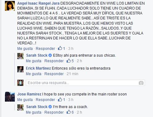 Sarah Stock (Dark Angel) confirma que solo será Entrenadora en WWE NXT (03/11/2015) / Facebook.com/SSDarkAngel