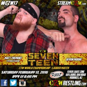 CZW Seventeen: Matt Tremont defenderá el Campeonato de CZW ante Devon Moore en lucha de escalera 5
