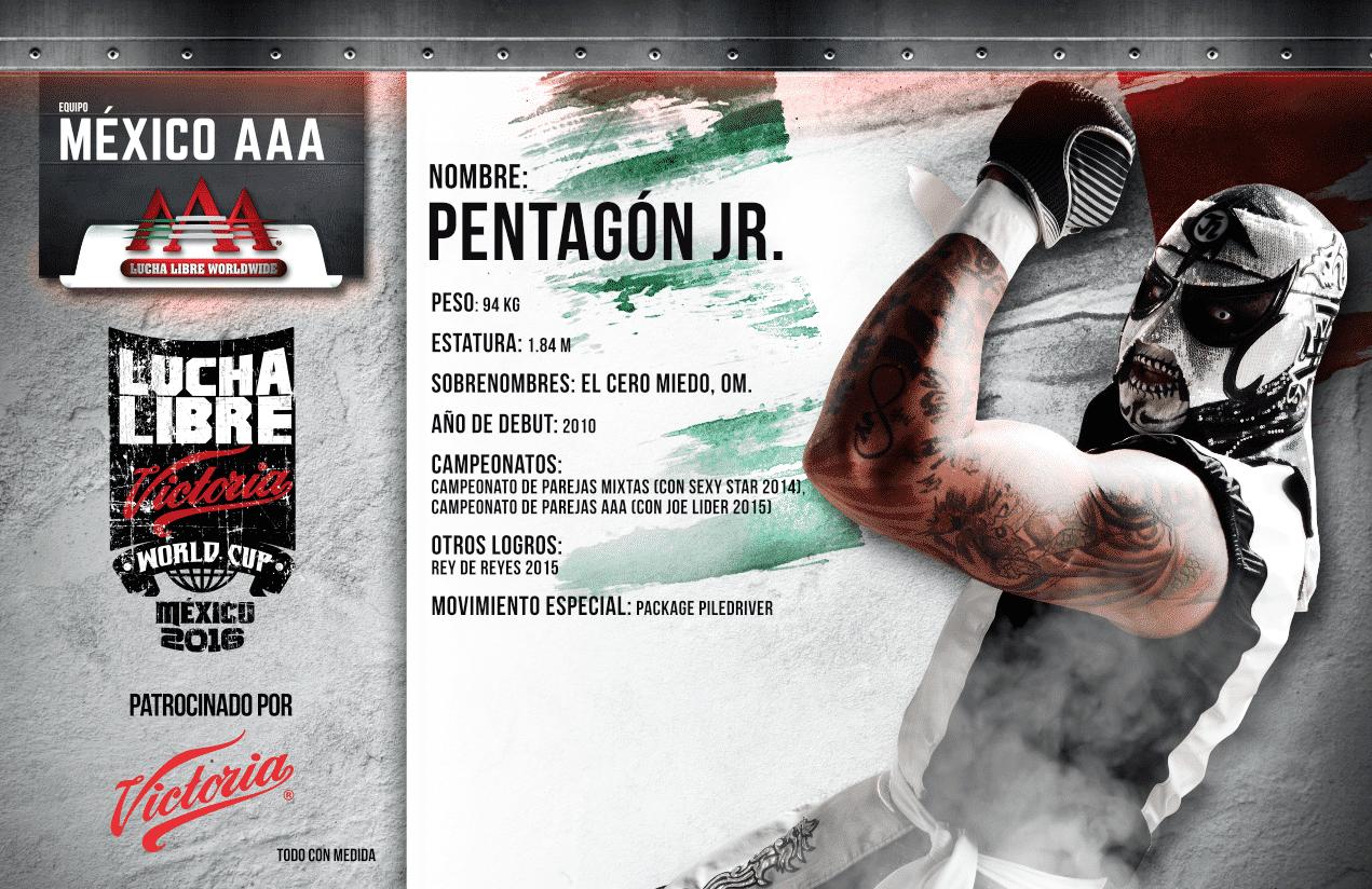 """AAA: """"Estar en el Lucha Libre World Cup es una oportunidad que mucha gente quisiera tener y que hoy yo tengo en mis manos"""". Pentagón Jr. 43"""