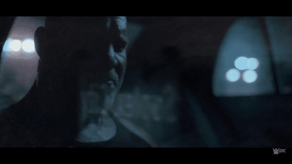 "Goldberg observa un cartel donde reza ""Suplex City"" en el tráiler de WWE 2K17 / WWE ©"