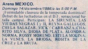 El histórico cartel, por primera vez la actual Arena México vería lucha femenil.