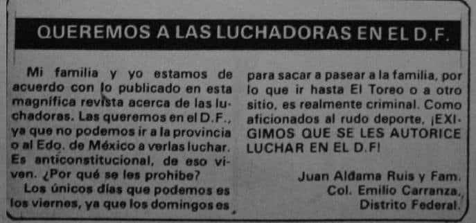 Carta de un aficionado a la revista Lucha Libre a principios de los ochentas.