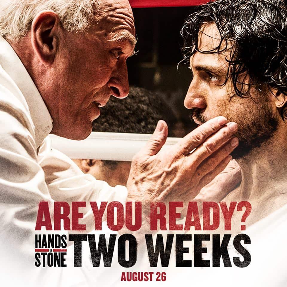 """Póster oficial de la película """"Hands of stone"""", la historia de """"Manos de Piedra"""" Durán"""