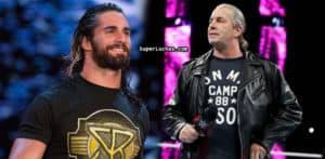 """Bret """"The Hitman"""" Hart (derecha) se disculpa con Seth Rollins (izquierda), Triple H y Michael Hayes (13/10/2016) / SÚPER LUCHAS - SuperLuchas.com"""
