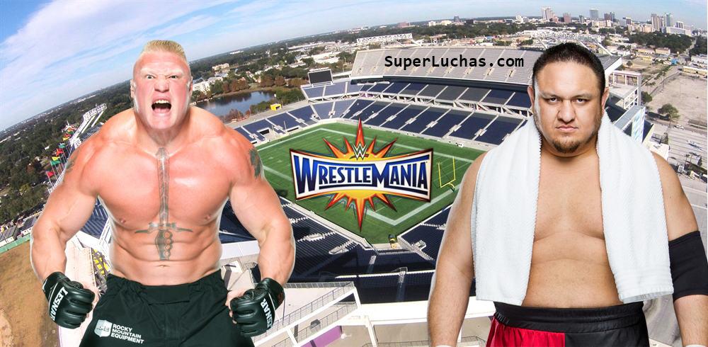 Brock Lesnar vs. Samoa Joe en WWE WrestleMania 33 (Camping World Stadium - Orlando, Florida - 02/04/2016) / SÚPER LUCHAS - SuperLuchas.com