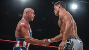 Kurt Angle felicita a Cody Rhodes tras su lucha en WCPW True Legacy (08/10/2016 - Manchester, Inglaterra)