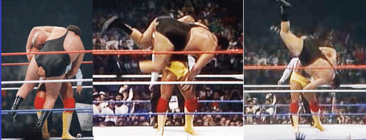 Hulk Hogan aplica una Contralona (Bodyslam) a André el Gigante en WWF WrestleMania III / WWE©