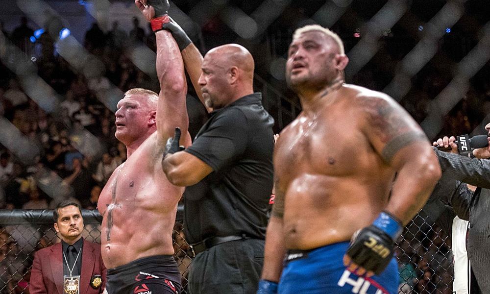 Brock Lesnar salió vencedor en UFC 200 ante Mark Hunt (09/07/2016); resultado declarado nulo a posteriori por su positivo por dopaje - MMAjunkie