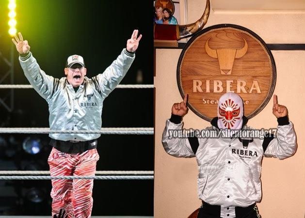 John Cena y Místico (Sin Cara Original), ídolos de WWE y la lucha libre, con el atuendo del restaurante Ribera Steak House de Japón