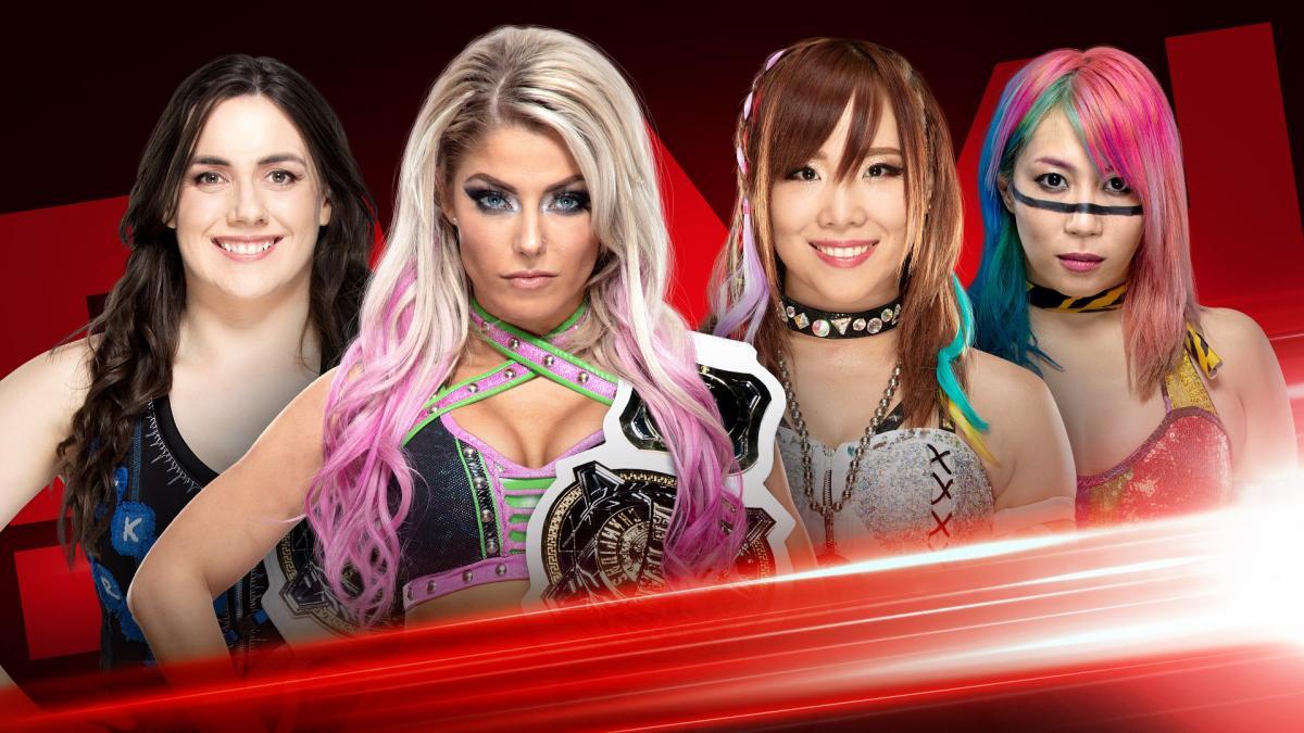 Nikki Cross y Alexa Bliss enfrentan a The Kabuki Warriores (Kairi Sane y Asuka) en Monday Night Raw (12 de agosto de 2019) / WWE