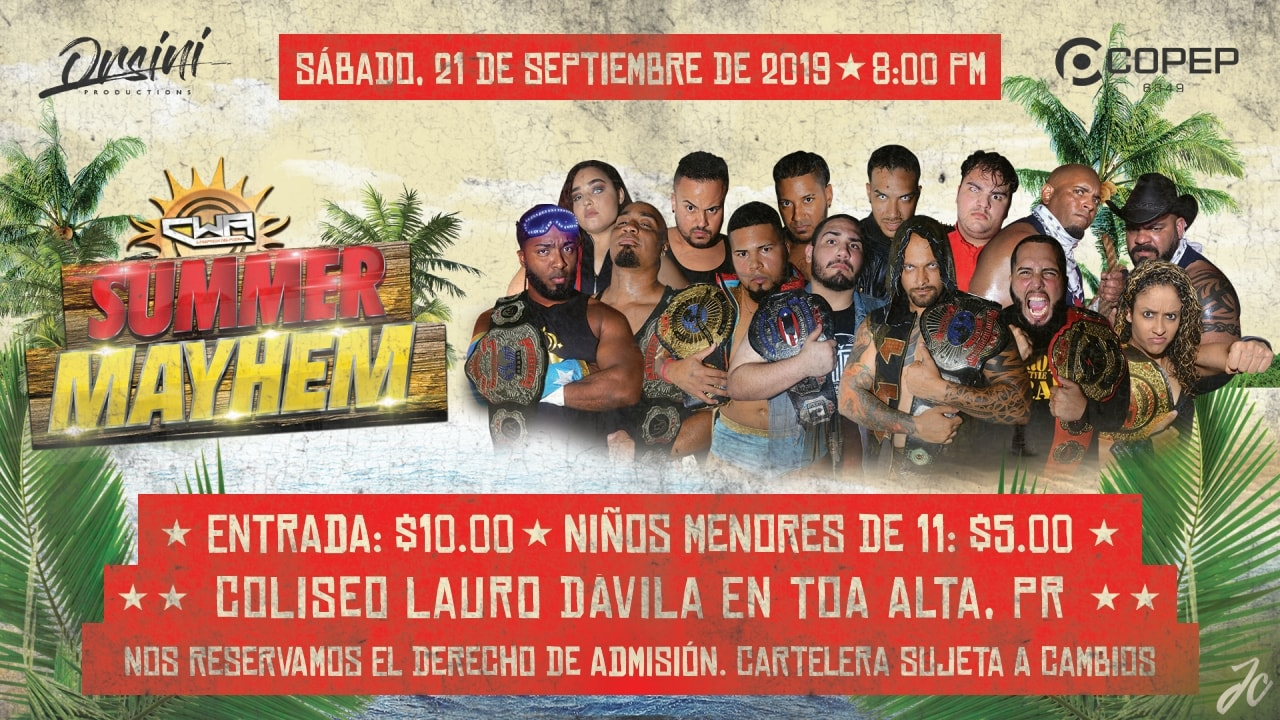 Cartel para Summer Mayhem - Mike Nice vs Nazareno por el Campeonato de la CWA 4