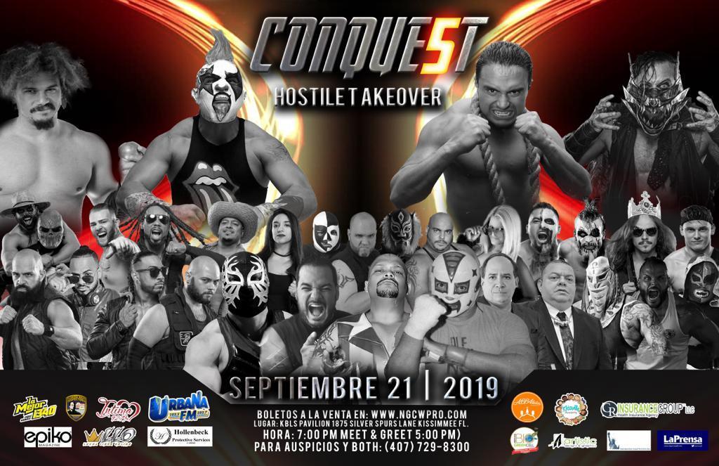 Cartel Conquest 5 Psycho Clown vs Carlito por el Campeonato de NGCW 3
