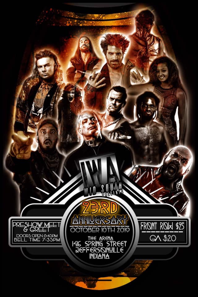 Póster promocional de IWA Mid-South: 23 Anniversary.