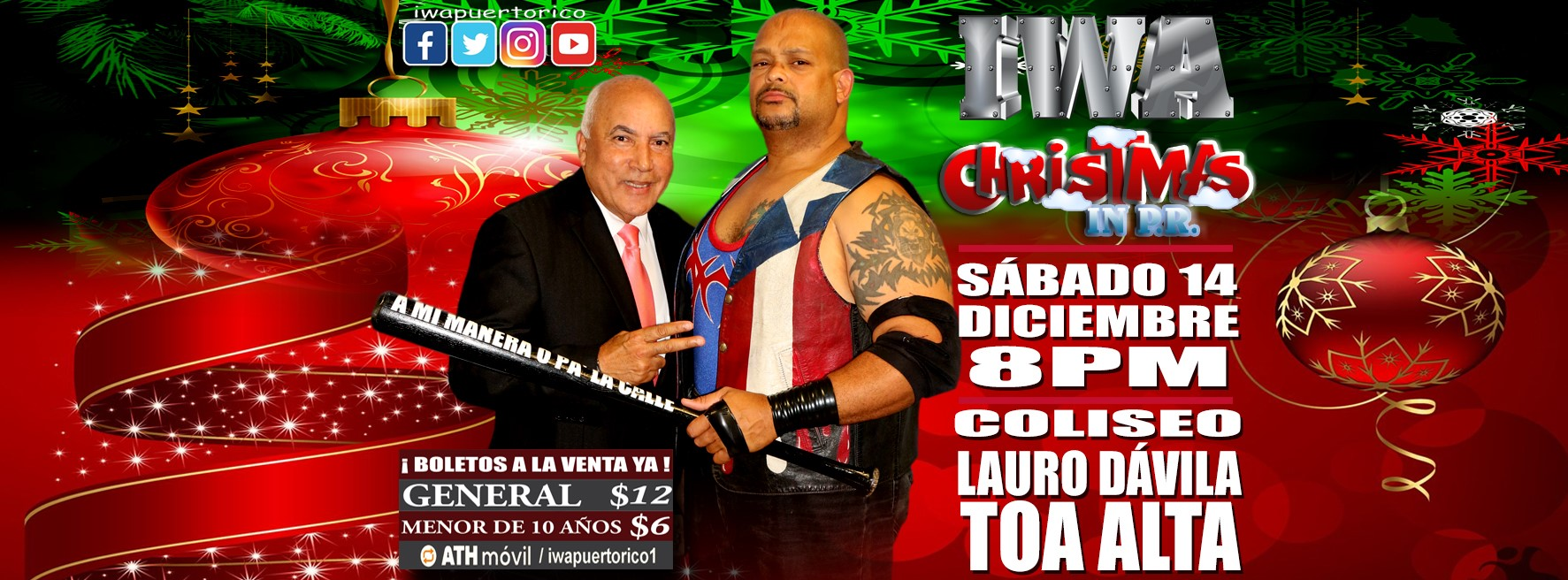 Cartel final para Christmas in PR - Savio Vega frente a Thunder 1