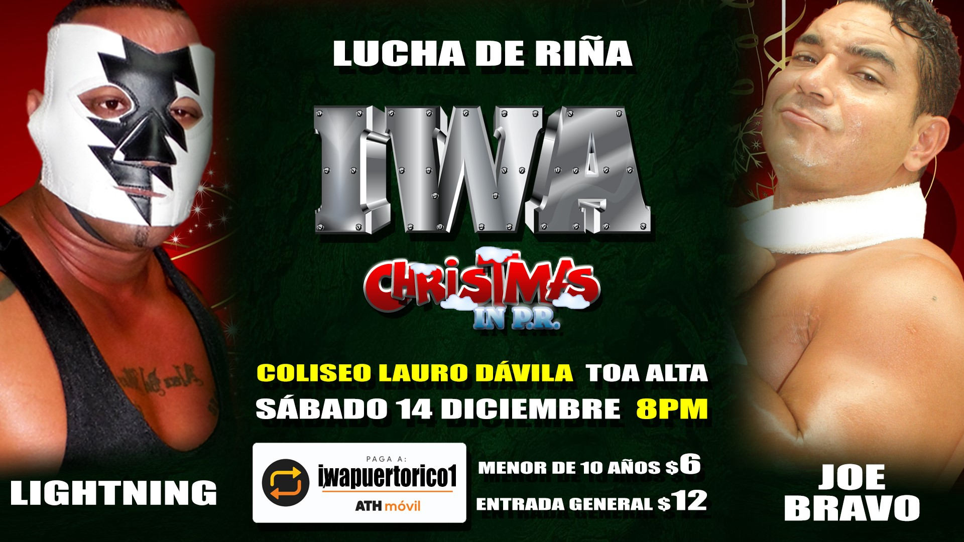 Cartel final para Christmas in PR - Savio Vega frente a Thunder 2