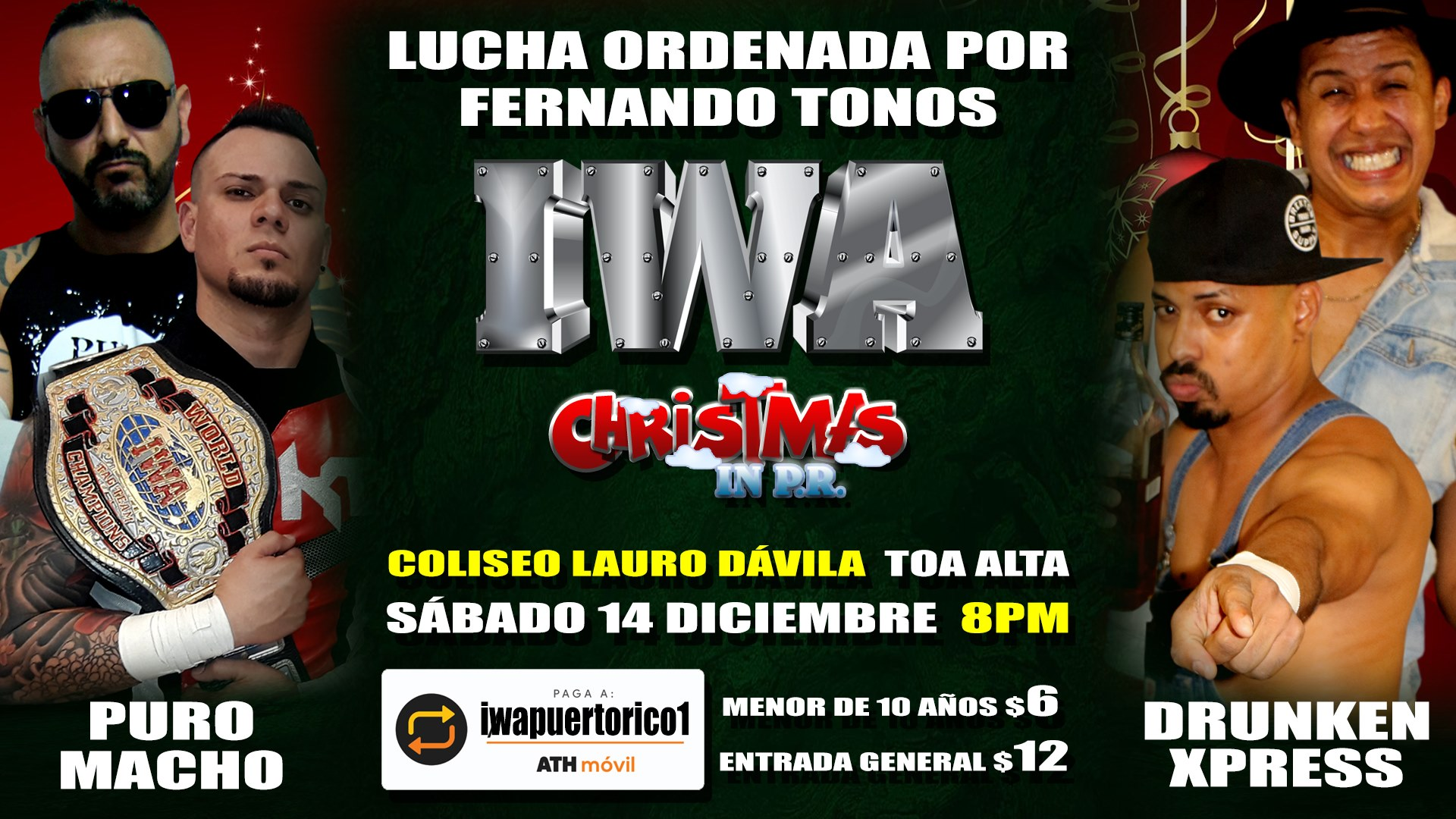 Cartel final para Christmas in PR - Savio Vega frente a Thunder 4