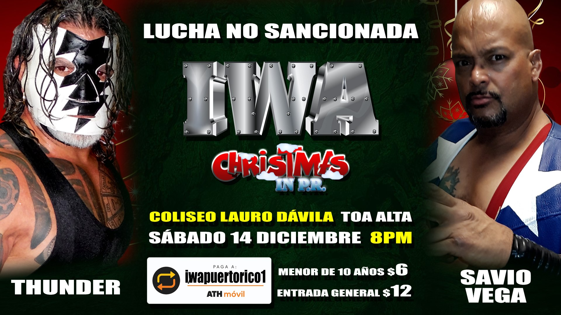 Cartel final para Christmas in PR - Savio Vega frente a Thunder 6