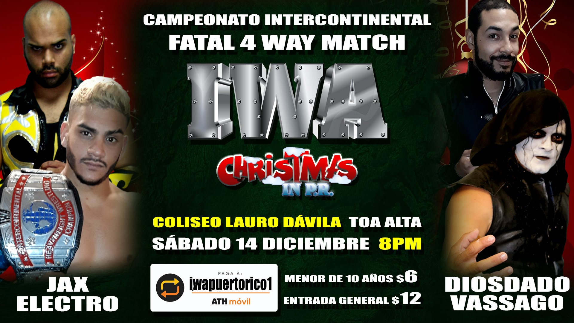 Cartel final para Christmas in PR - Savio Vega frente a Thunder 8