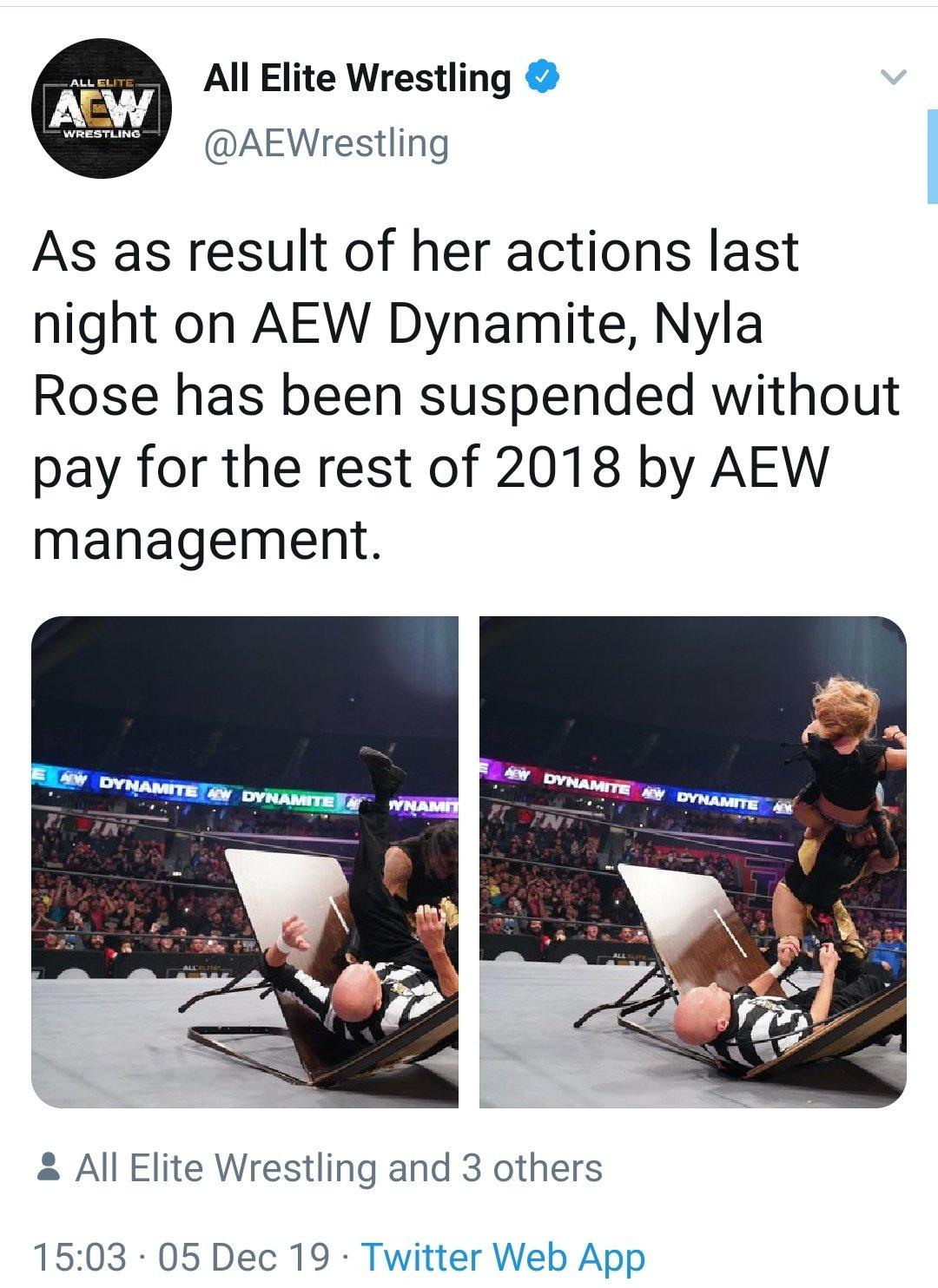 Nyla Rose es suspendida por atacar a un réferi en AEW Dynamite 1