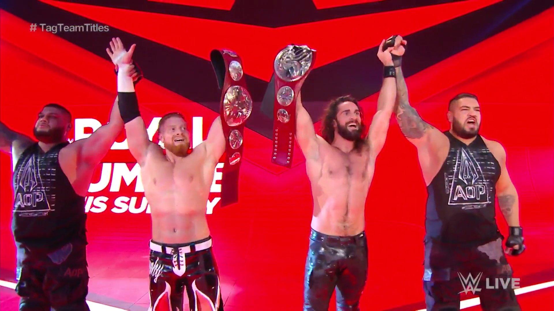 Kevin Owens y Samoa Joe vs Seth Rollins y AOP