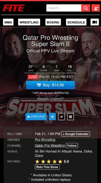QPW: Qatar Pro Wrestling presentará Super Slam 2 en Fite TV 2
