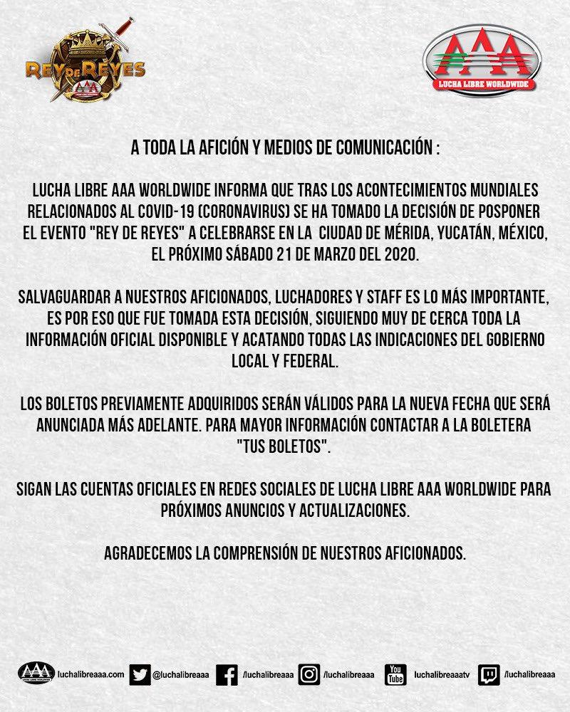 "AAA: Se cancela ""Rey de Reyes 2020"" por Coronavirus 2"