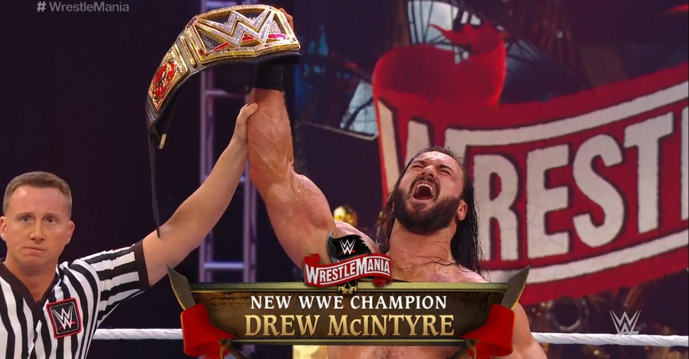 Drew McIntyre es el nuevo Campeón WWE tras vencer a Brock Lesnar en WWE WrestleMania 36 (05/04/2020) / WWE