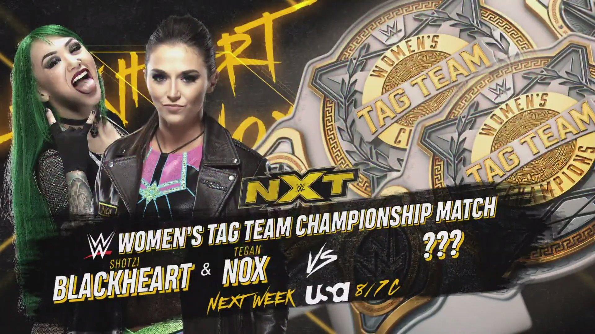 Shotzi Blackheart y Tegan Nox vs las Campeonas de Parejas WWE en WWE NXT 2 luchas titulares en NXT