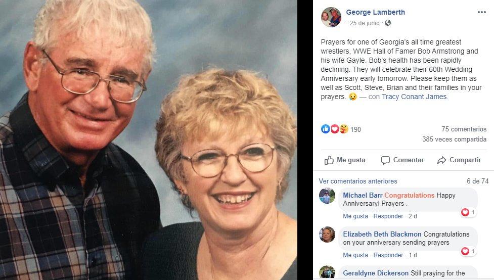 Falleció la esposa de Bob Armstrong