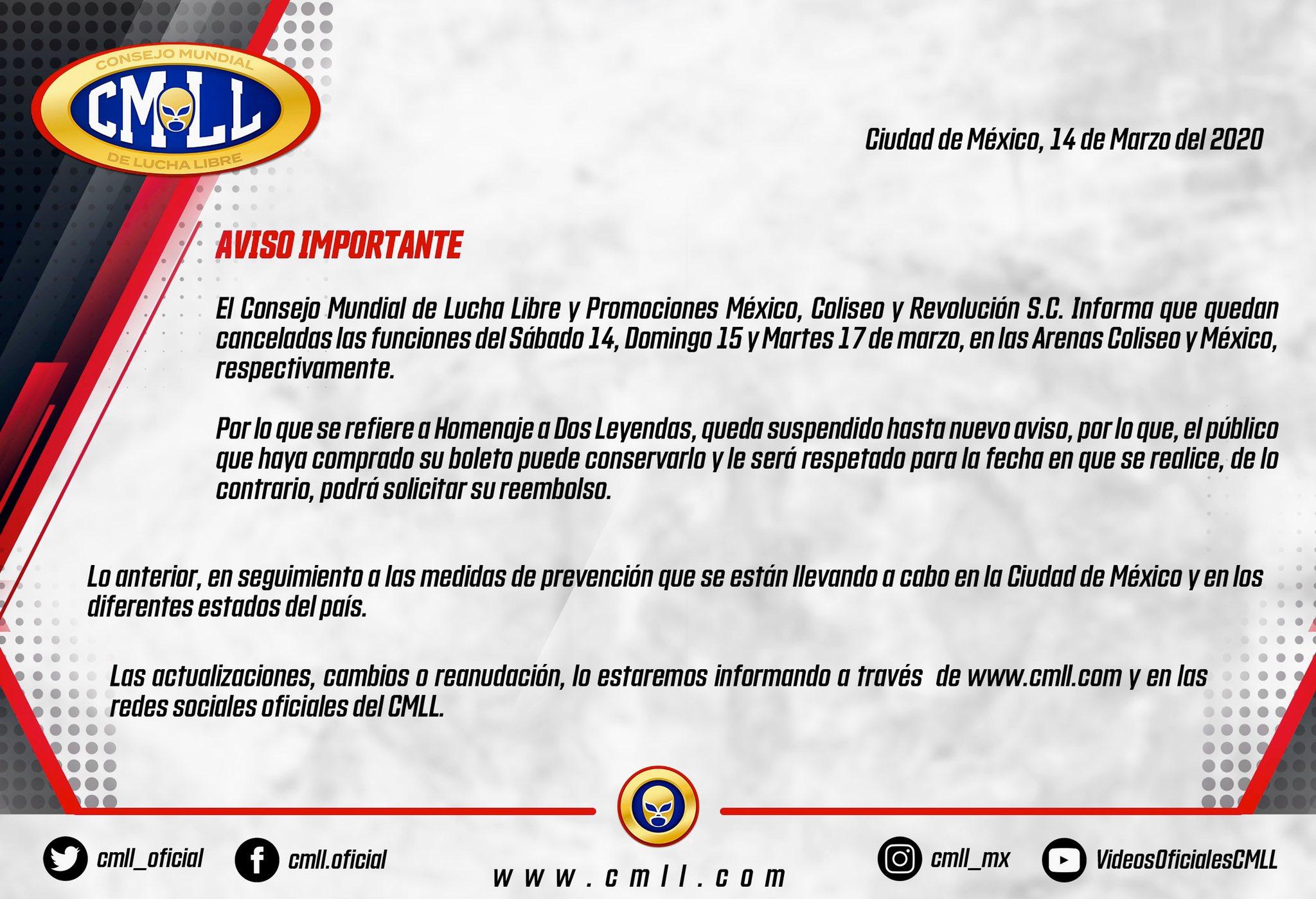 """CMLL: """"Homenaje a Dos Leyendas 2020"""" suspendido hasta nuevo aviso 2"""