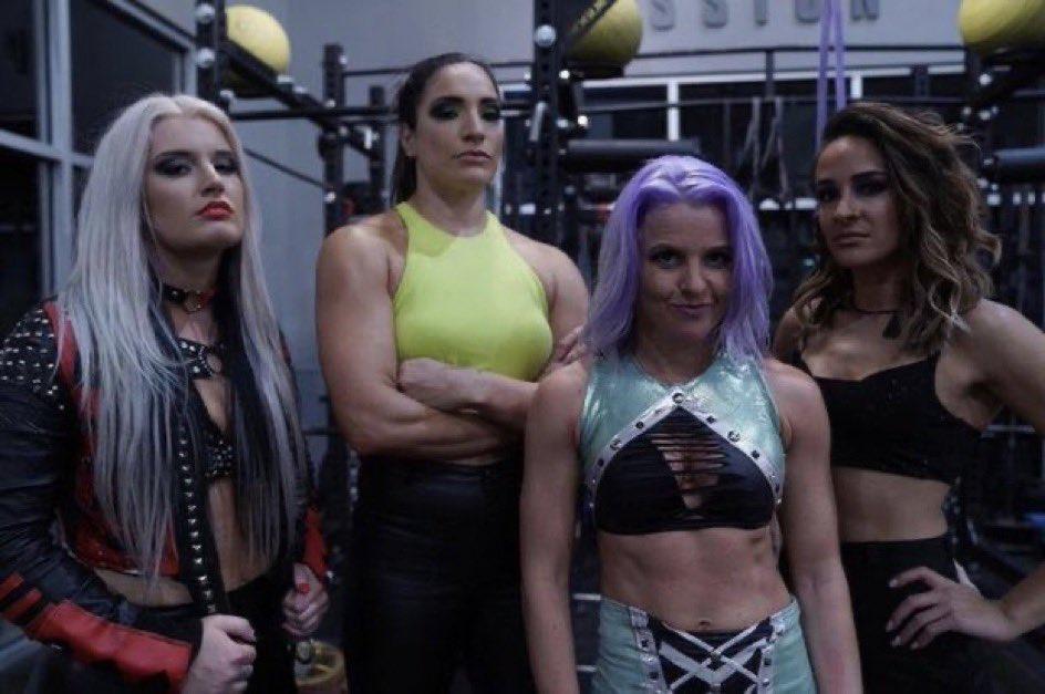 Candice LeRae, Toni Storm, Raquel González and Dakota Kai