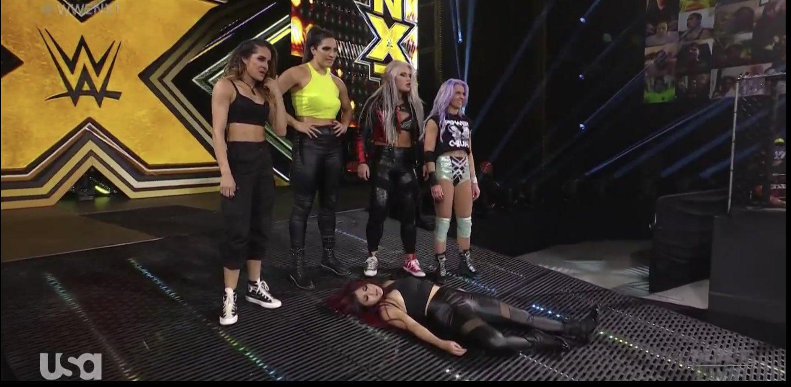 Candice LeRae, Toni Storm, Raquel González and Dakota Kai attacked Io Shirai