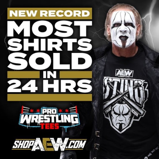 Sting and his shirt, the best-selling in a 24-hour period in the history of Pro Wrestling Tees - Instagram
