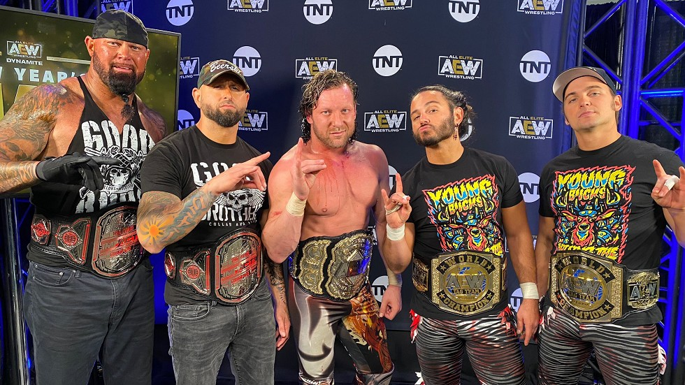 The Good Brothers, Kenny Omega and The Young Bucks backstage at the AEW Dynamite on January 6, 2021 - AEW