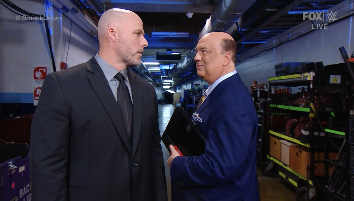 Paul Heyman informs Adam Pearce of the updated stipulation in his match against Roman Reigns at the Royal Rumble.