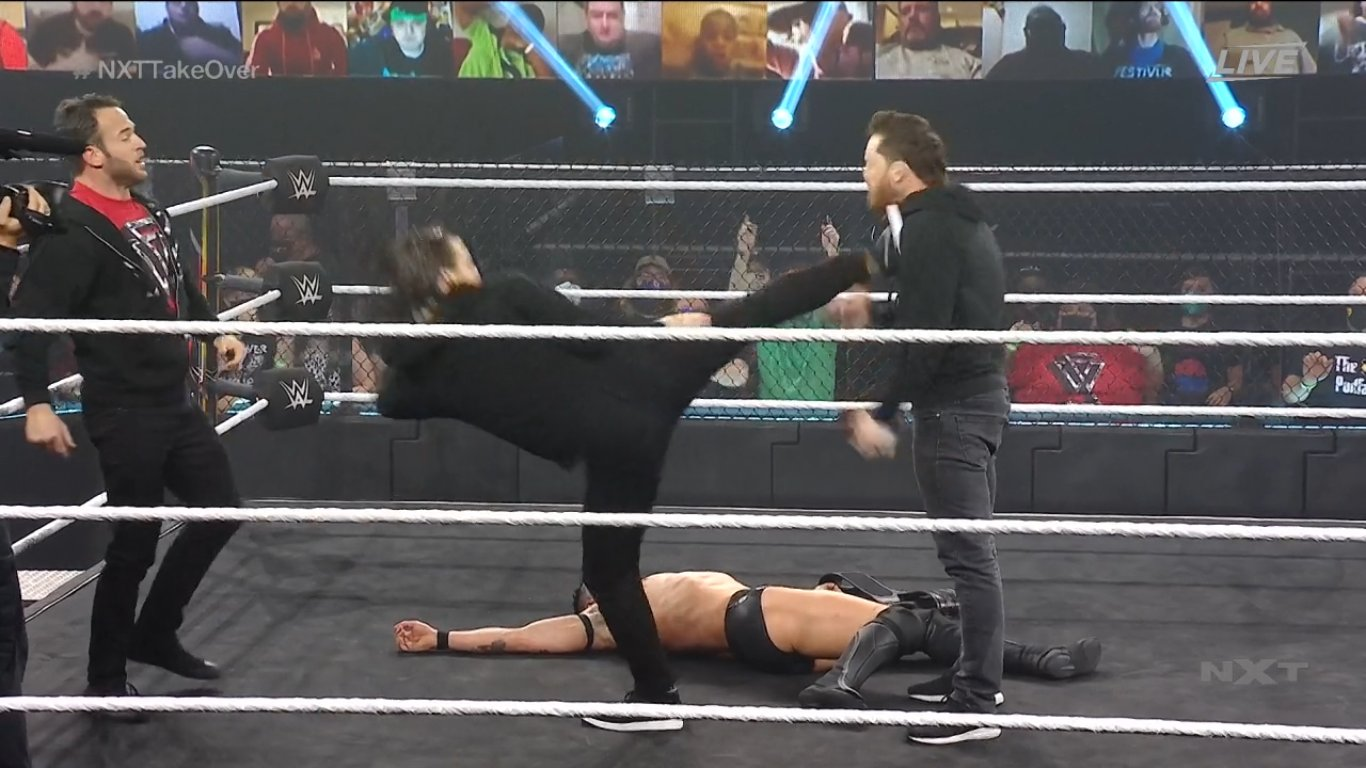 Adam Cole kicking Kyle O'Reilly - NXT TakeOver: Vengeance Day