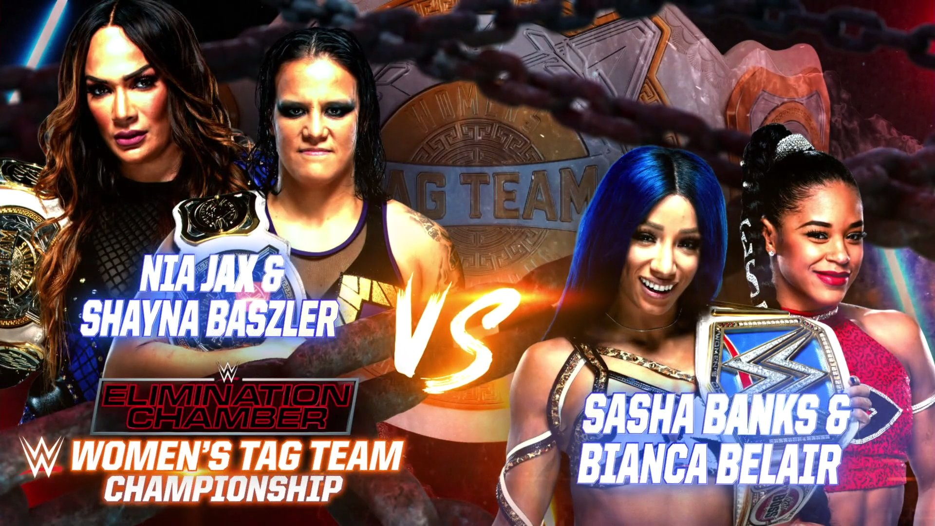 Nia Jax et Shayna Baszler contre Sasha Banks et Bianca Belair - Chambre d'élimination 2021