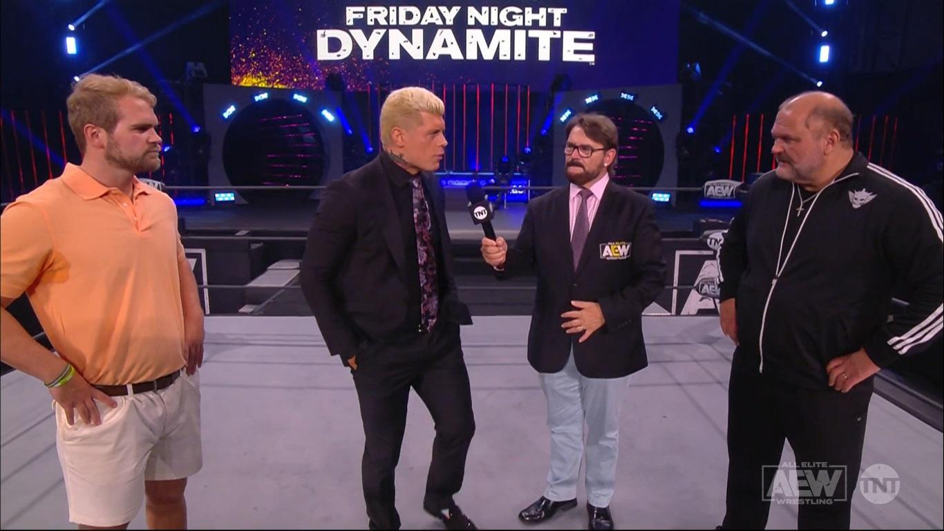 Brock Anderson hijo de Arn Anderson y Cody Rhodes aew dynamite 11.06.2021