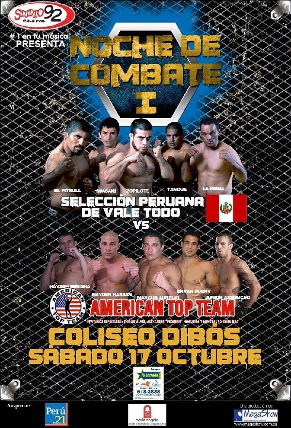 """MMA Perú: """"Noche de Combate I"""". American Top Team se impuso a Selección Peruana de Vale Todo 3 a 2 2"""