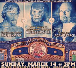 Blue Demon Jr. vs Adam Pearce vs Phill Shatter por el título NWA el 14 de marzo 1