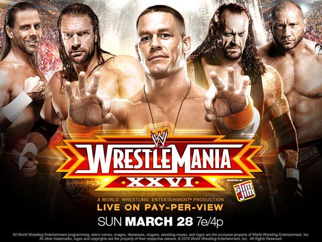 WWE Wrestlemania 26 (Cobertura y resultados 28 marzo 2010)- John Cena vs. Batista - Mr. McMahon vs. Bret Hart - The Undertaker vs. Shawn Michaels 1