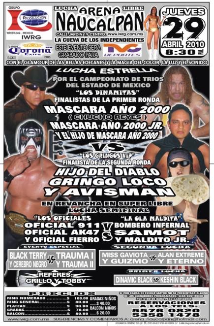 IWRG (Jueves 29 abril 2010) - Los Mascaras Año 2000 vs Gringos VIP por los campeonatos de tríos del Estado México. 2